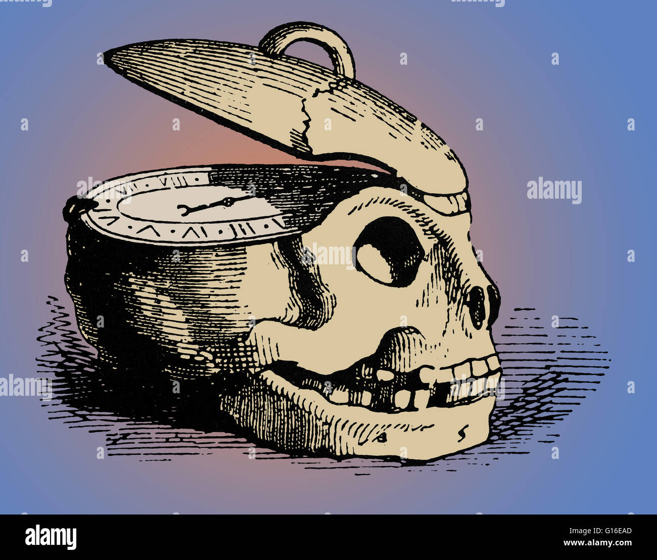 A memento mori (remember that you will die) is an artistic or symbolic reminder of the inevitability of death. The - Stock Image