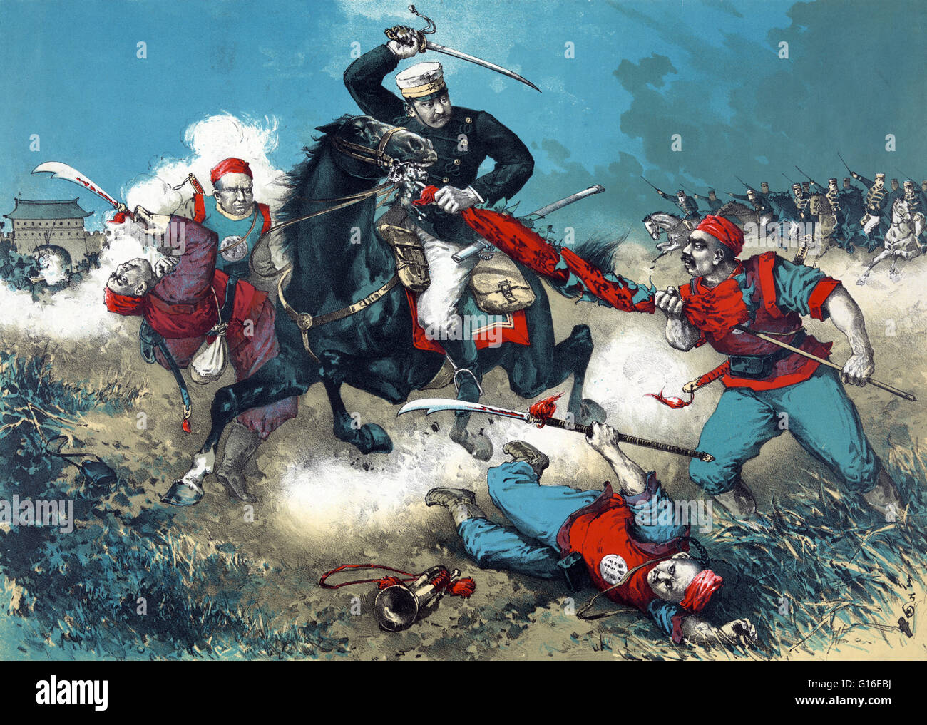Entitled: 'The Japanese cavalry advancing through fields toward a walled city in China.' Shows a Japanese - Stock Image