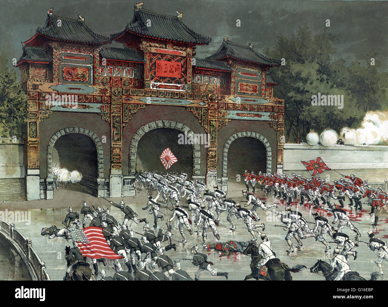 Entitled: 'The Allied Armies launch a general offensive on Pekin Castle.' Shows American, British, and Japanese - Stock Image
