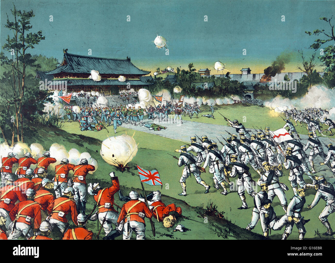 "Entitled: ""The fall of the Pekin castle, the hostile army being beaten away from the imperial castle by the allied Stock Photo"
