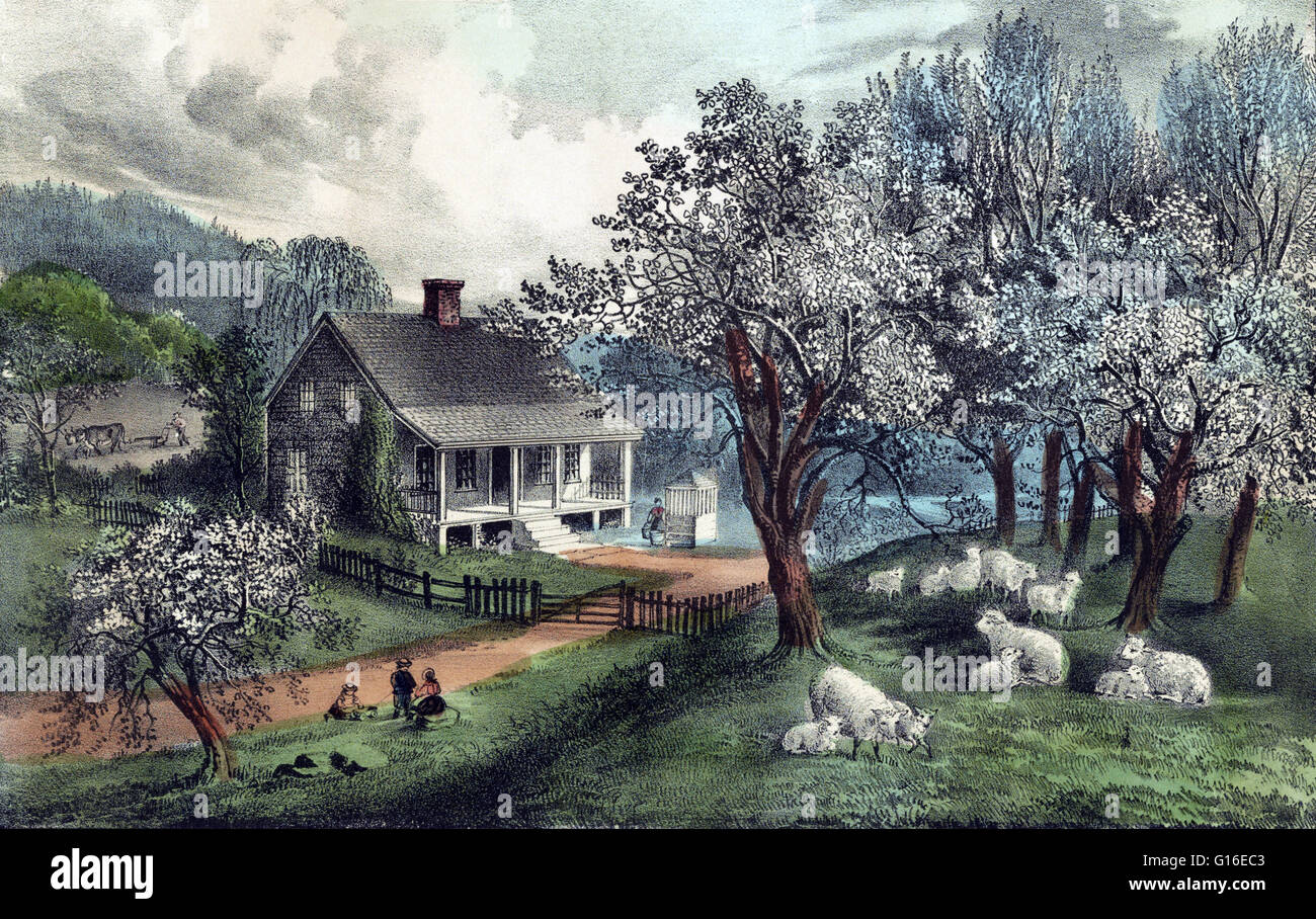 Entitled: 'American homestead Spring.' A homestead consists of a dwelling, often a farm house together with - Stock Image
