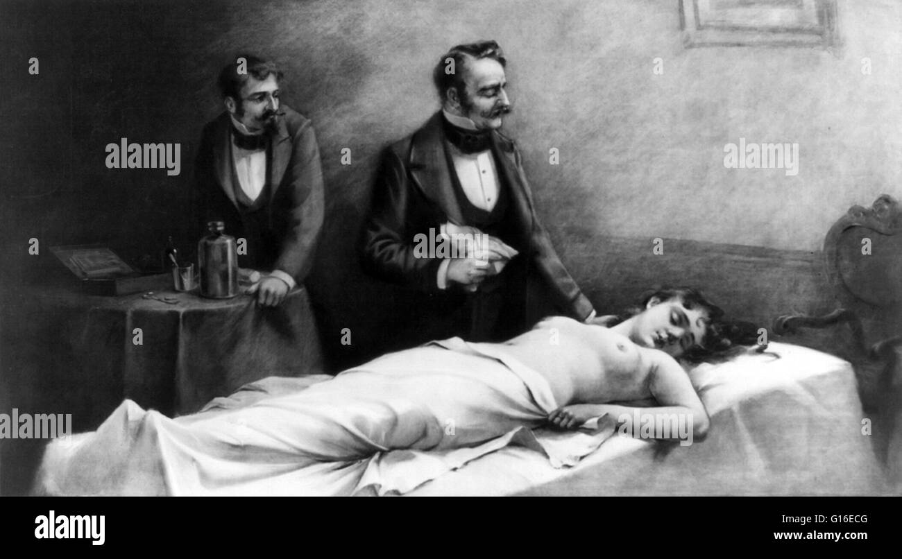 Entitled: 'Anaesthesia.' Show s woman lying on operating table and being attended by two doctors. Anesthesia - Stock Image