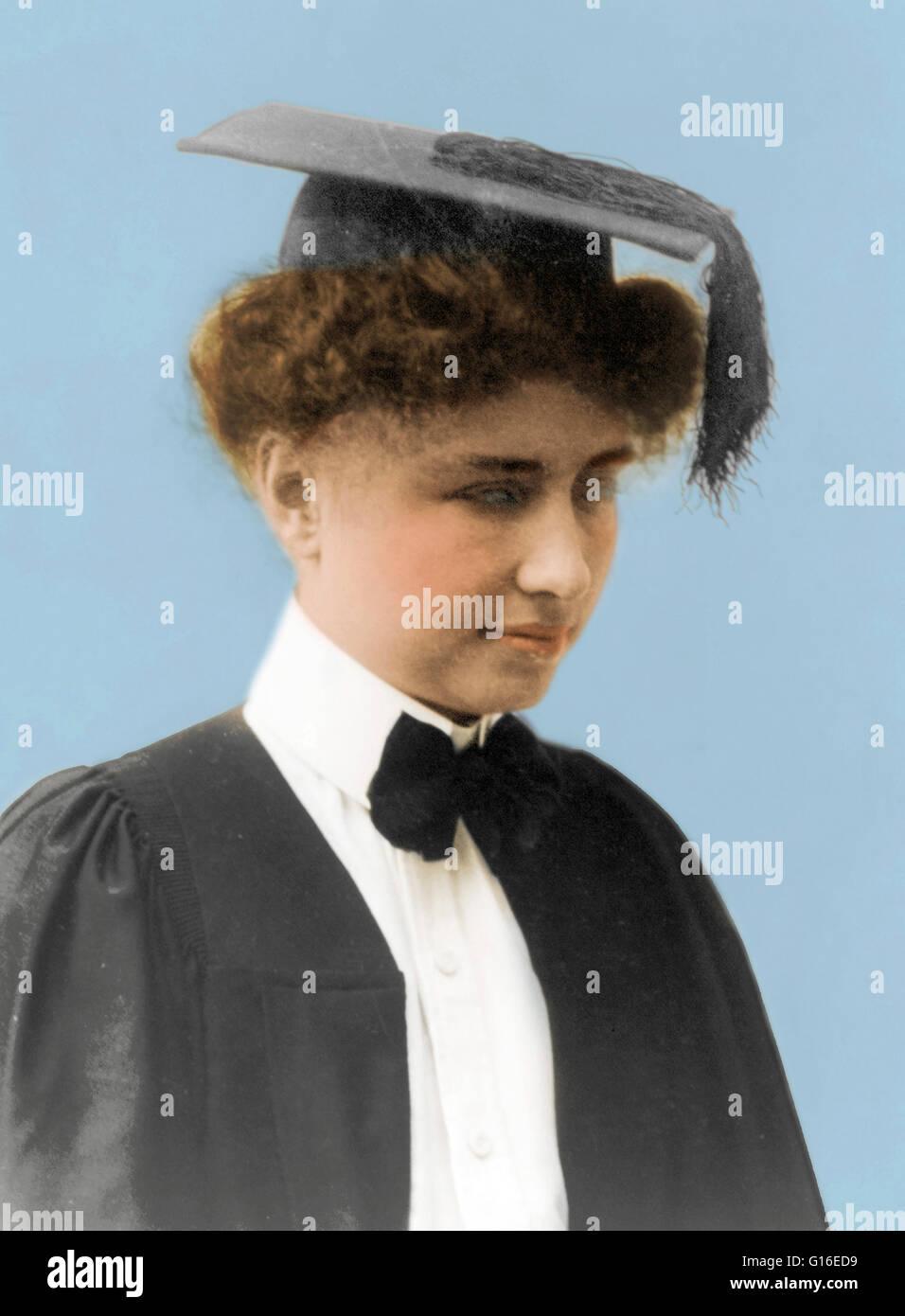 Keller wearing graduation cap and gown, circa 1904. Helen Adams ...