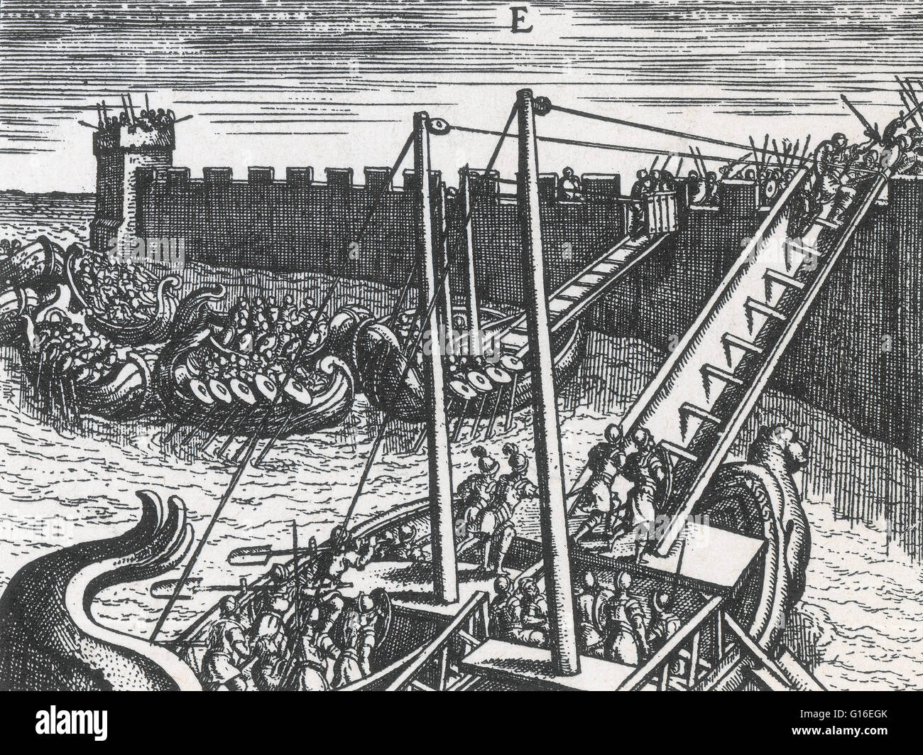 Roman soldiers scaling the walls of a fortress using ladders mounted on boats. Image taken from 'Poliorceticon - Stock Image