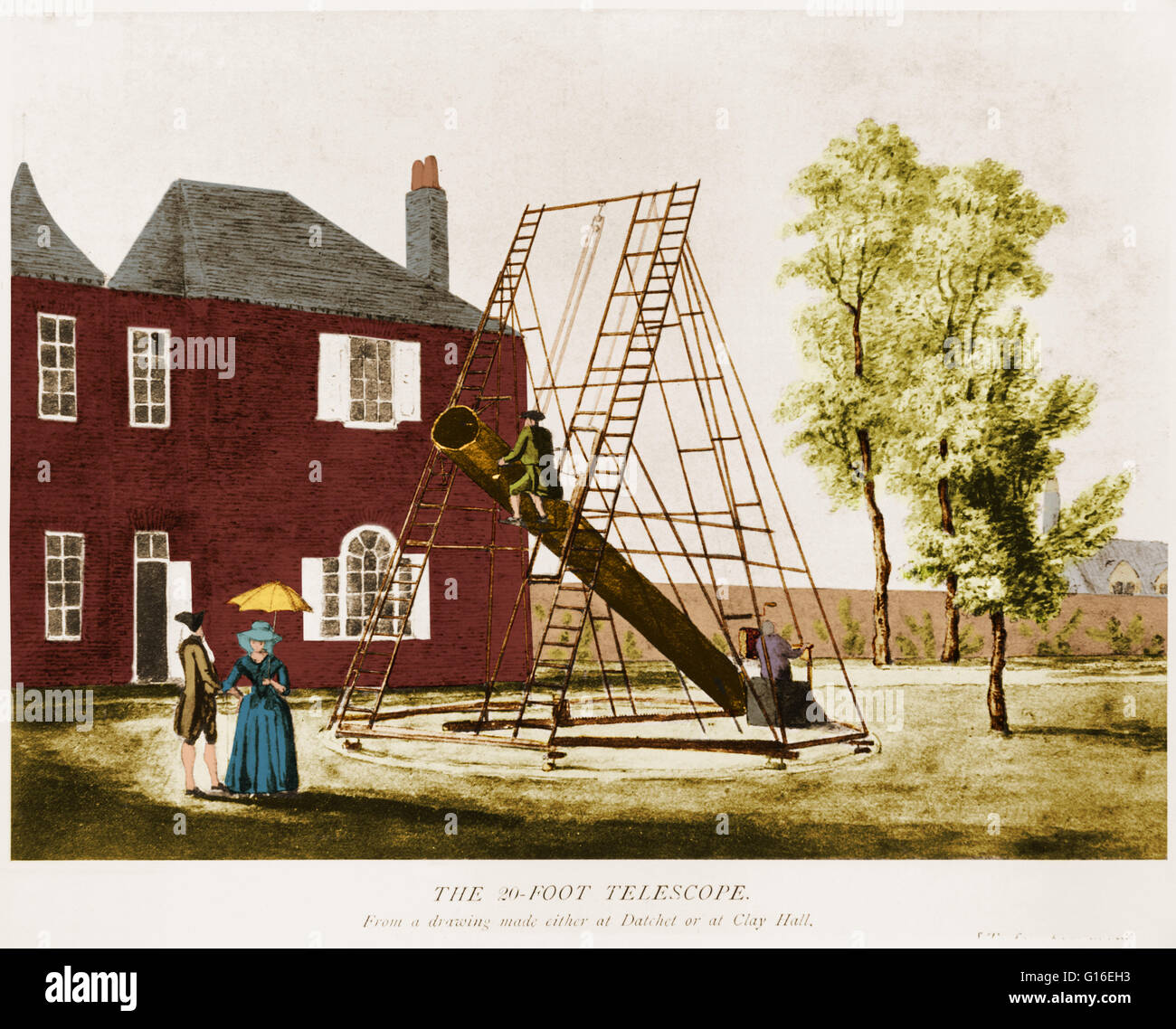 Illustration of the 20-foot reflector telescope designed by the British astronomer William Herschel (1738-1822). - Stock Image