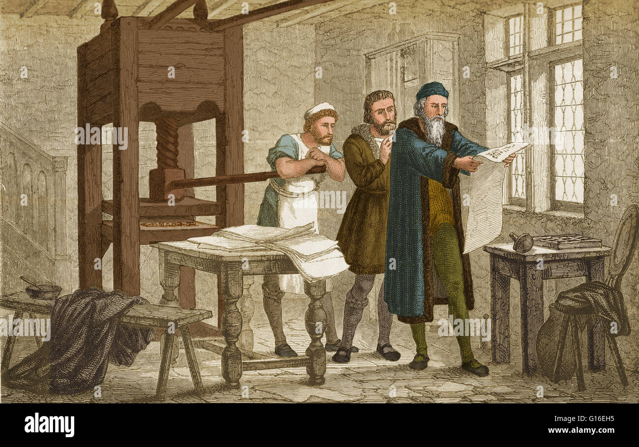 Gutenberg Inspecting The First Proof Sheet Of His Bible Printed From Movable Type Johannes Gensfleisch