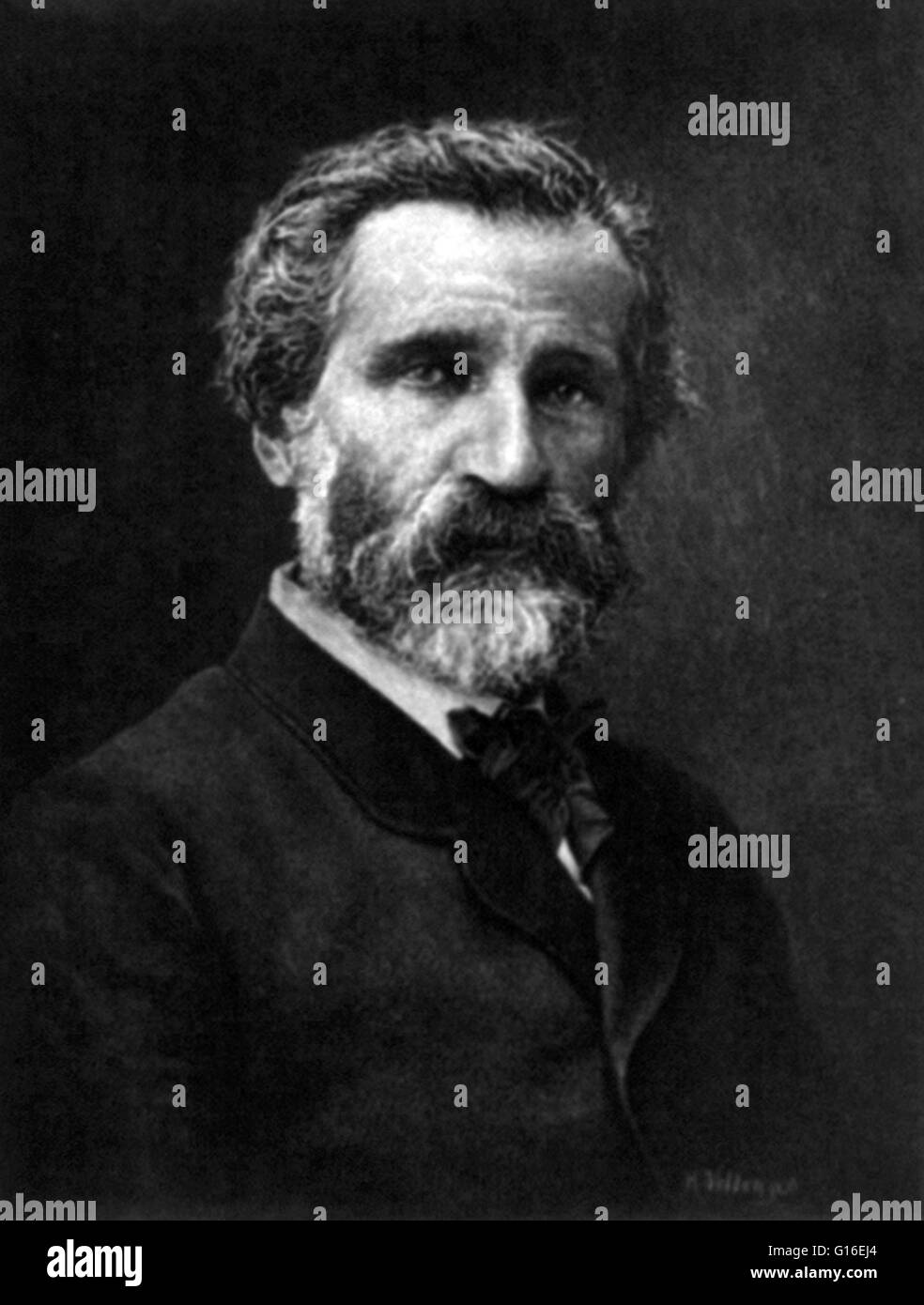 Giuseppe Fortunino Francesco Verdi (October 9 or 10 1813 - January 27, 1901) was an Italian Romantic composer primarily - Stock Image