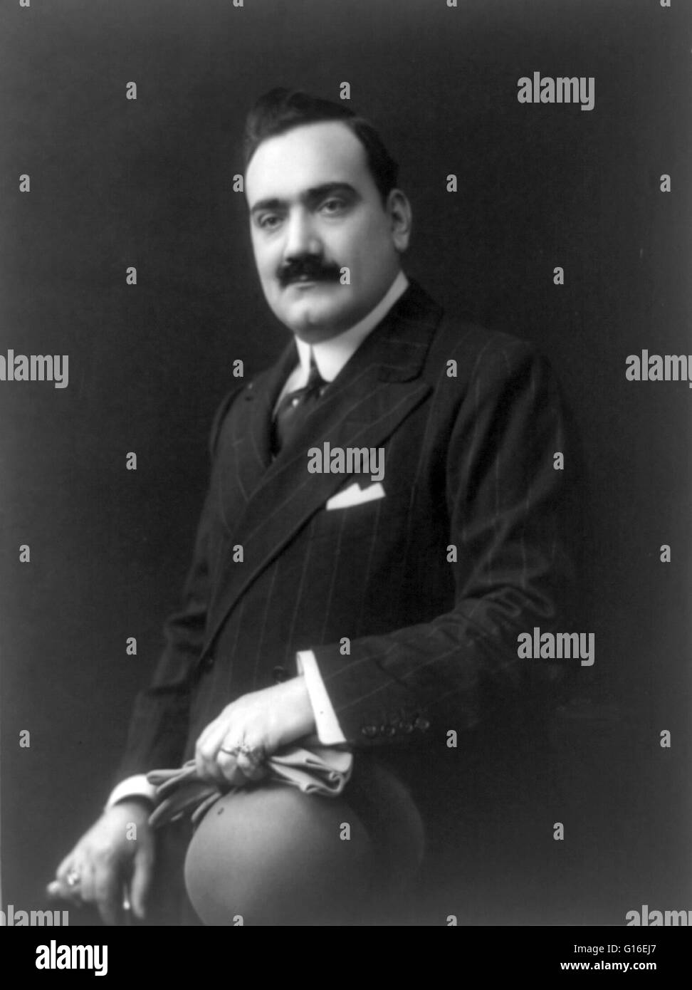 Enrico Caruso (February 25, 1873 - August 2, 1921) was an Italian operatic tenor. He sang to great acclaim at the - Stock Image