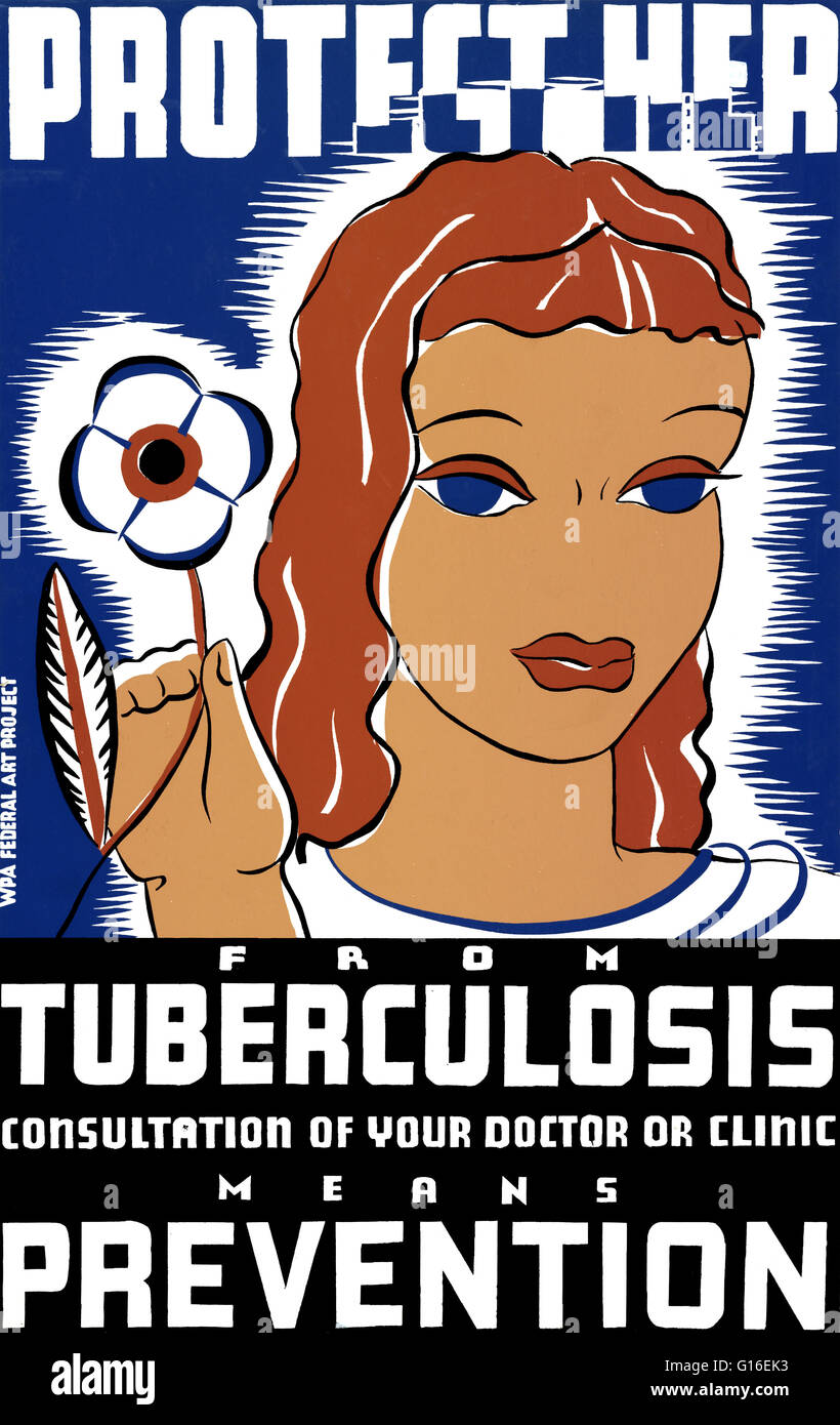 Entitled: 'Protect her from tuberculosis. Consultation of your doctor or clinic means prevention'. Poster - Stock Image
