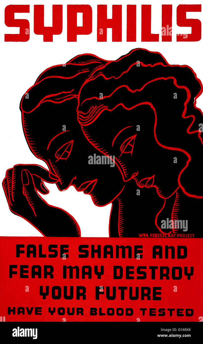 Entitled: 'Syphilis. False shame and fear may destroy your future. Have your blood tested.' Poster for treatment - Stock Image