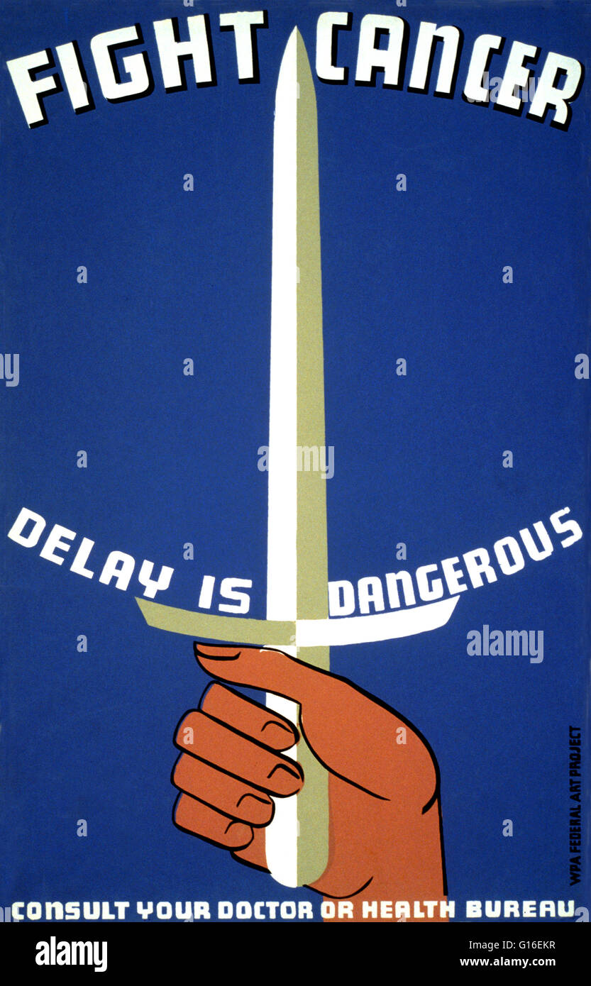 Entitled: 'Fight cancer - delay is dangerous. Consult your doctor or health bureau'. Poster promoting better - Stock Image