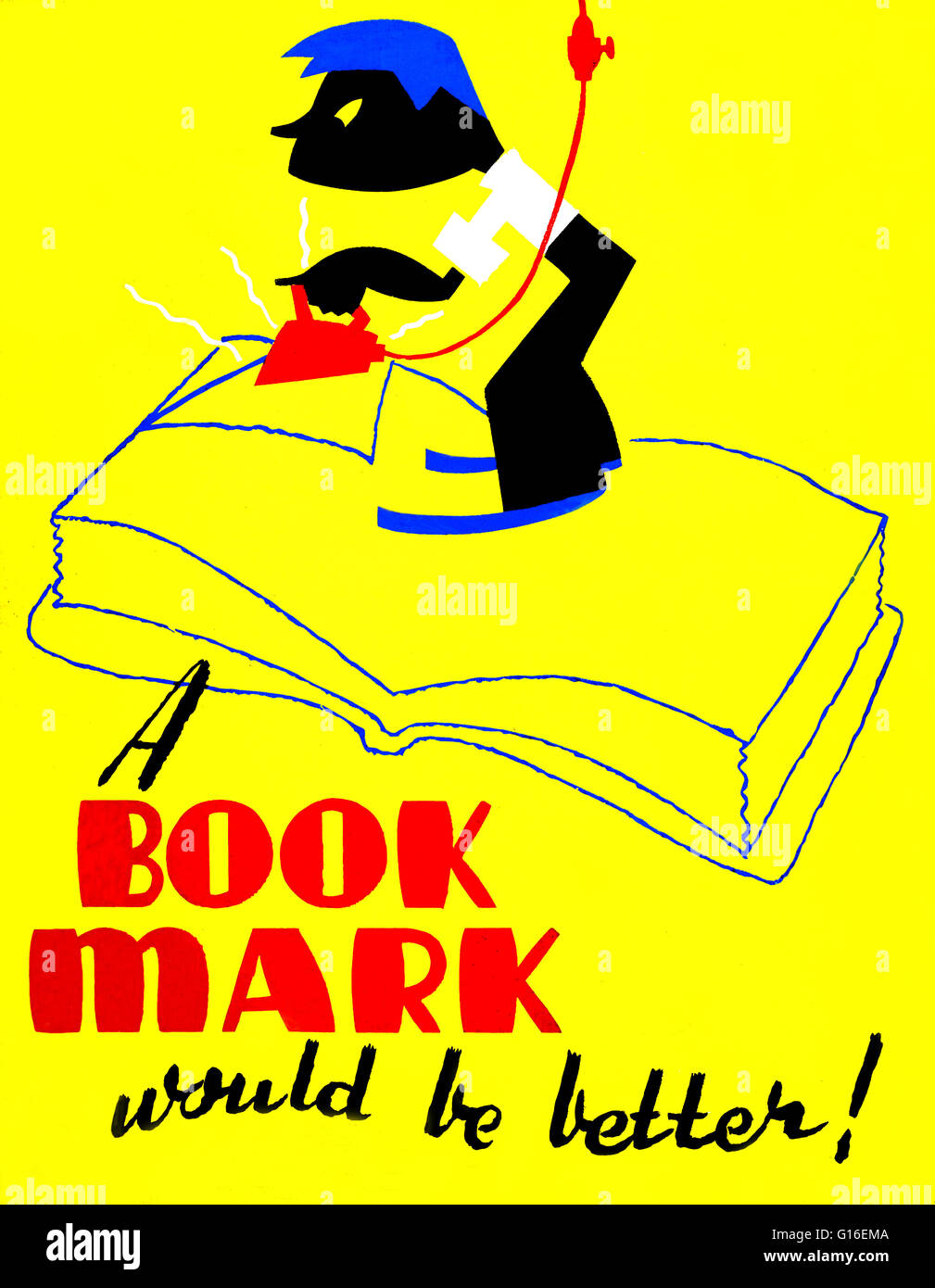 Entitled: 'A book mark would be better!' WPA poster shows a boy ironing down the page of a book. The Federal - Stock Image