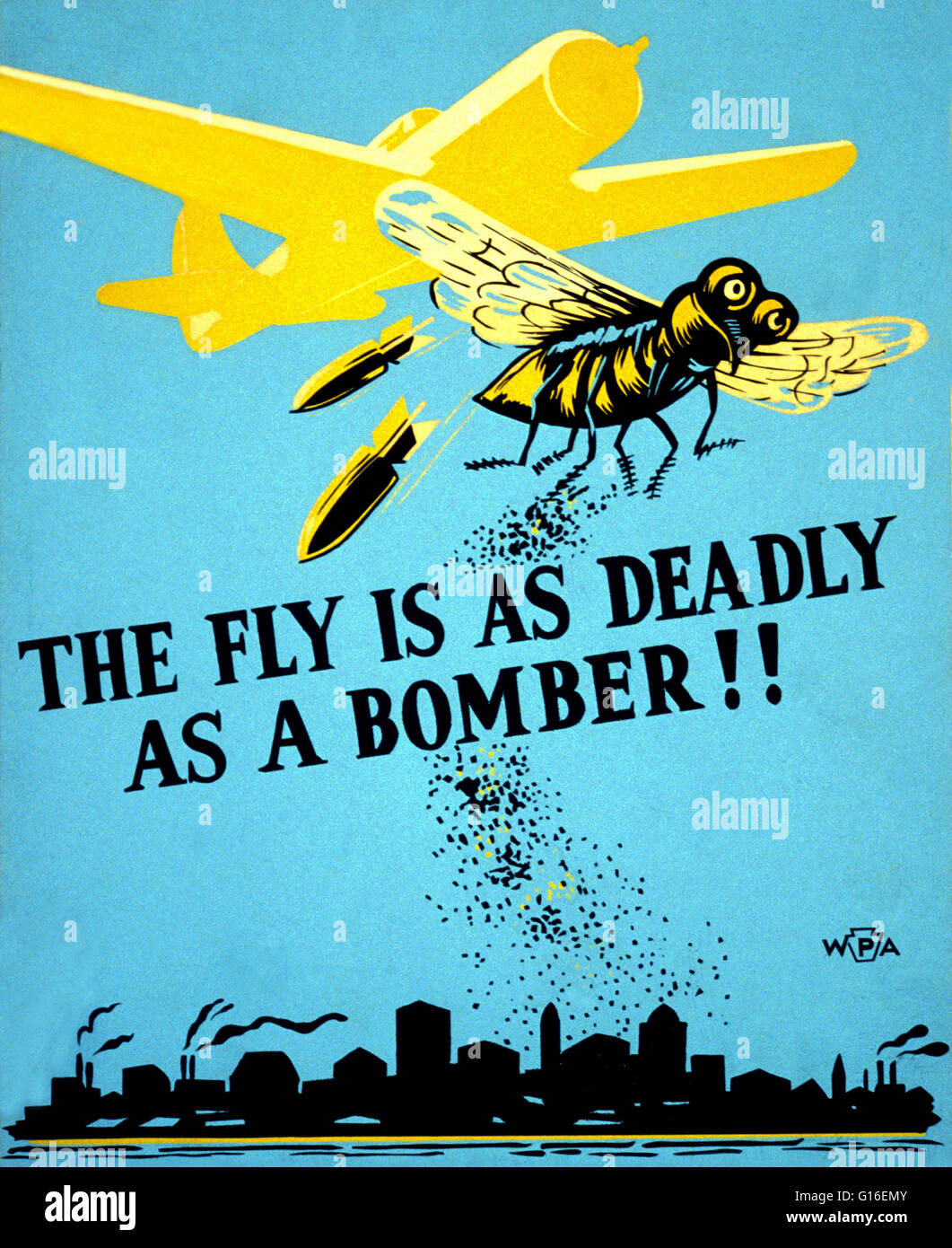 Entitled: 'The fly is as deadly as a bomber!' Poster for Philadelphia Department of Health warning of potential - Stock Image
