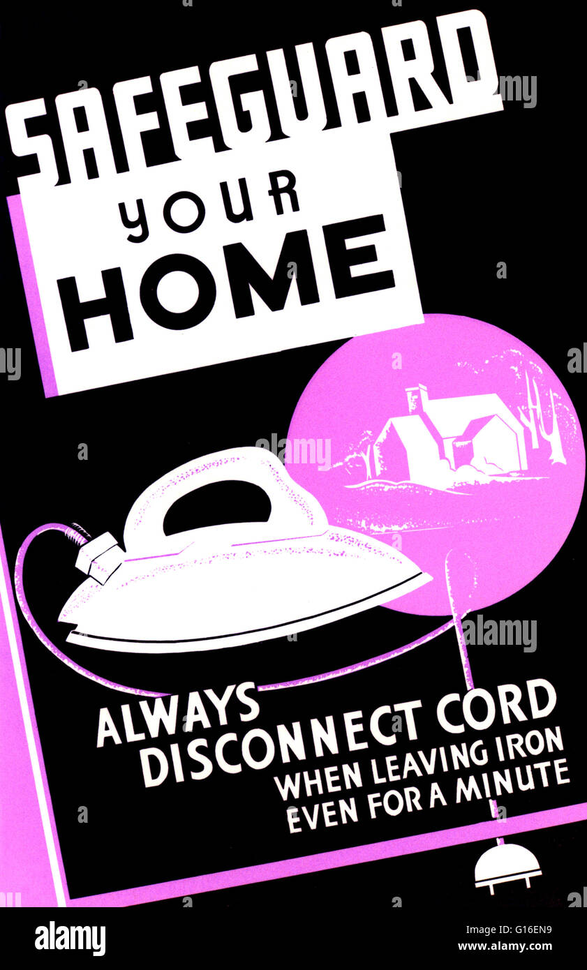 Entitled: 'Safeguard your home - always disconnect cord when leaving iron even for a minute'. Poster promoting - Stock Image