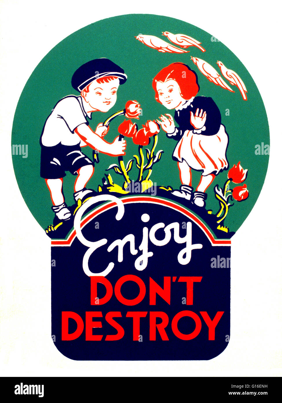 """Entitled: """"Enjoy, don't destroy"""". Poster showing two children picking flowers. The Federal Art Project (FAP) was Stock Photo"""