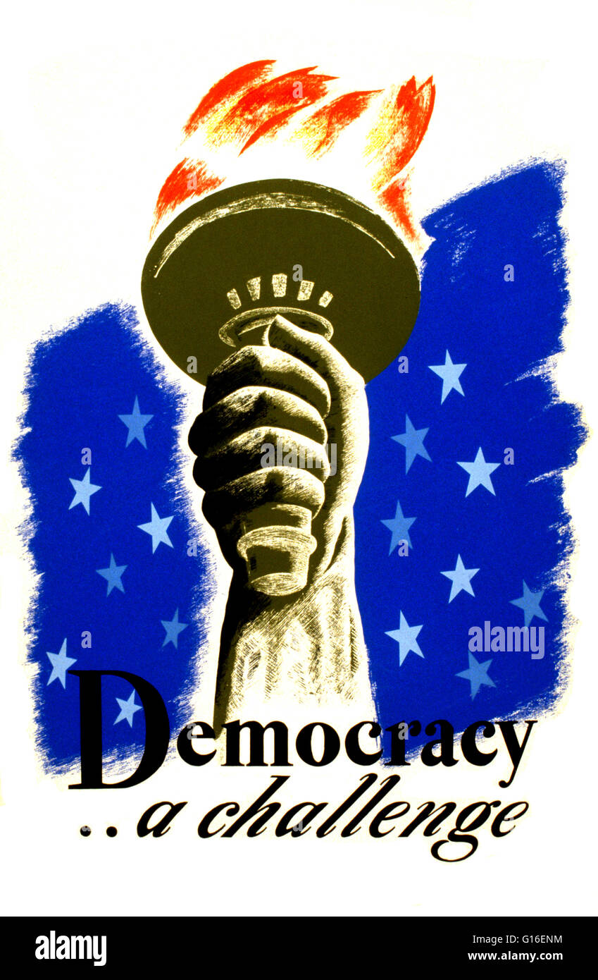 Entitled: 'Democracy - a challenge'. Poster for democracy showing the hand and torch of the Statue of Liberty. - Stock Image