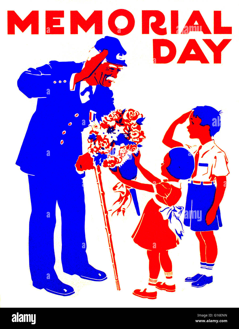 Entitled: 'Memorial Day'. Poster honoring veterans, showing a boy and an old soldier saluting each other, - Stock Image