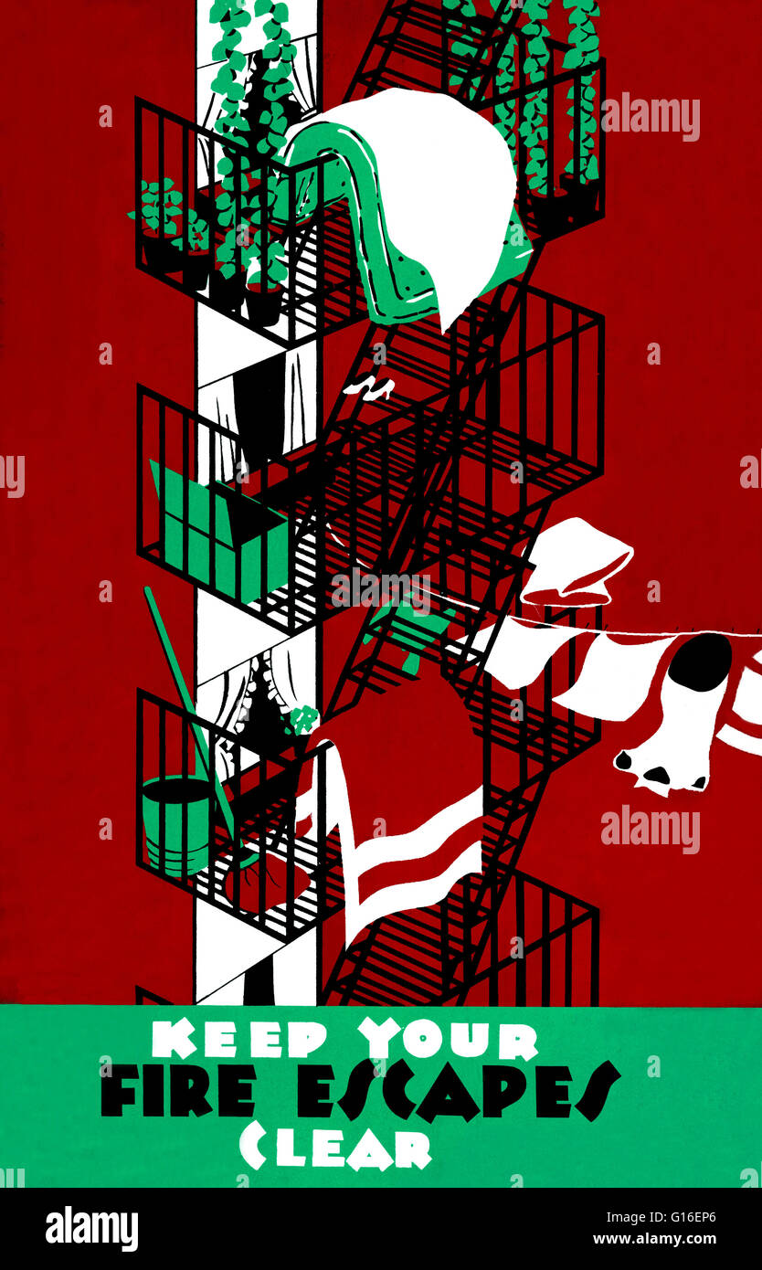 Entitled: 'Keep your fire escapes clear'. Poster for the Tenement House Department of the City of New York - Stock Image