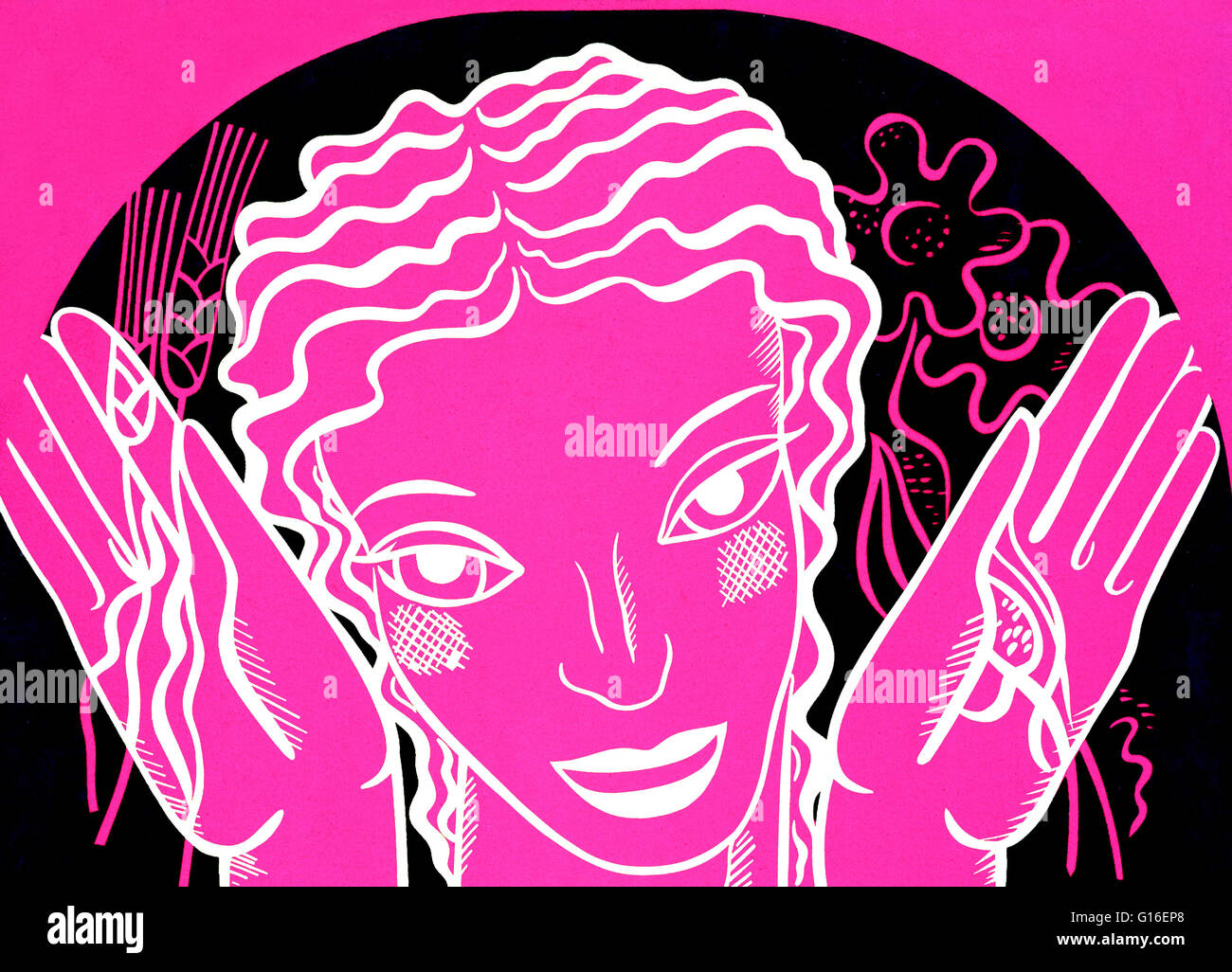 WPA poster design on pink background showing the head and hands of a woman holding flowers and wheat. The Federal - Stock Image