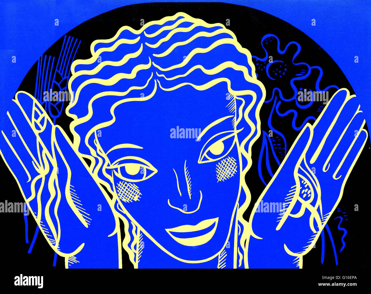 WPA poster design on blue background showing the head and hands of a woman holding flowers and wheat. The Federal - Stock Image