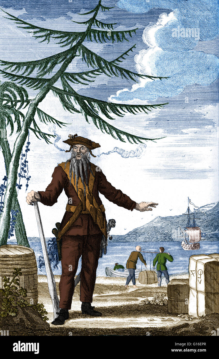 Color enhanced engraving of Blackbeard from 'A General History of the Robberies and Murders of the most notorious - Stock Image