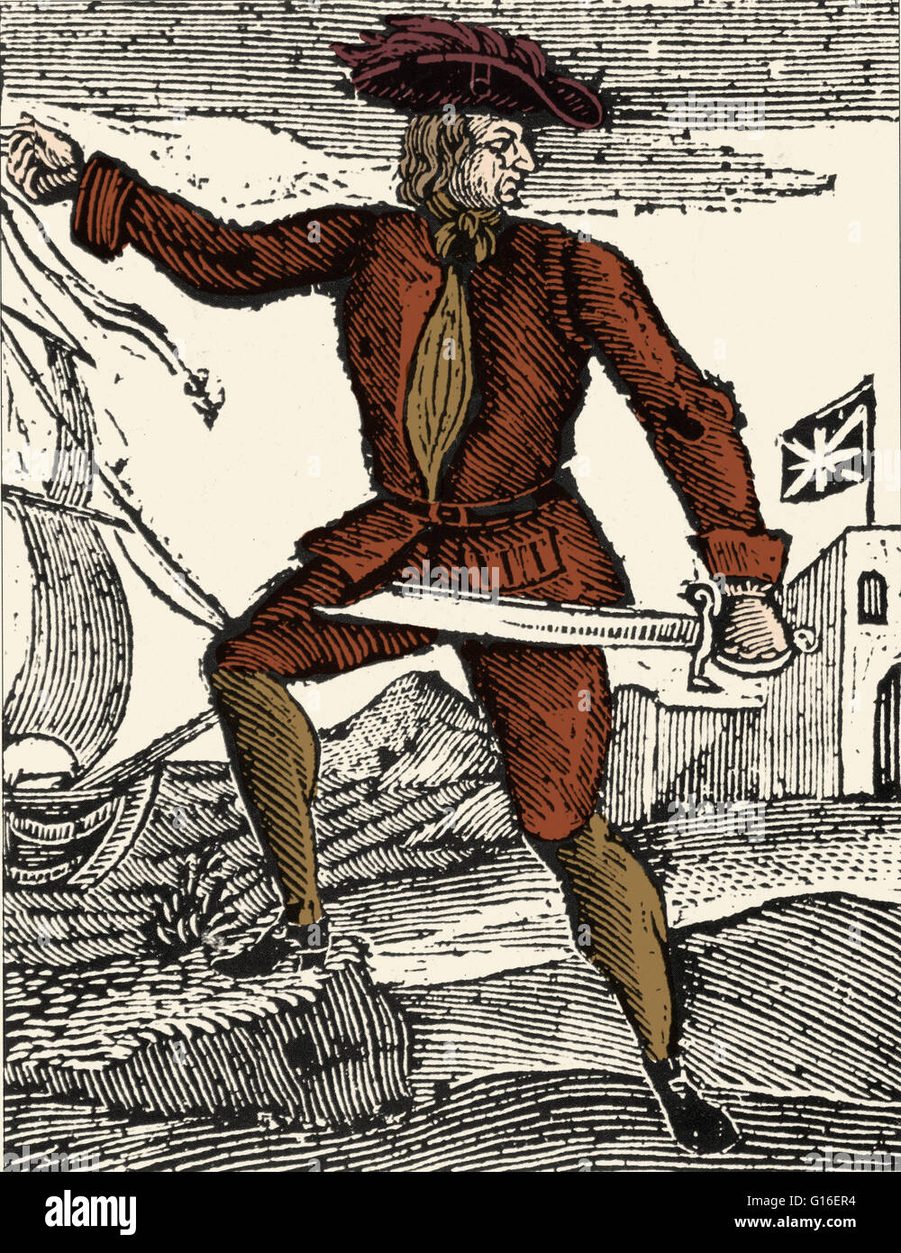 Colorized artwork of Howell Davis (1690 - June 19, 1719), a Welsh pirate. His pirate career lasted only 11 months. - Stock Image
