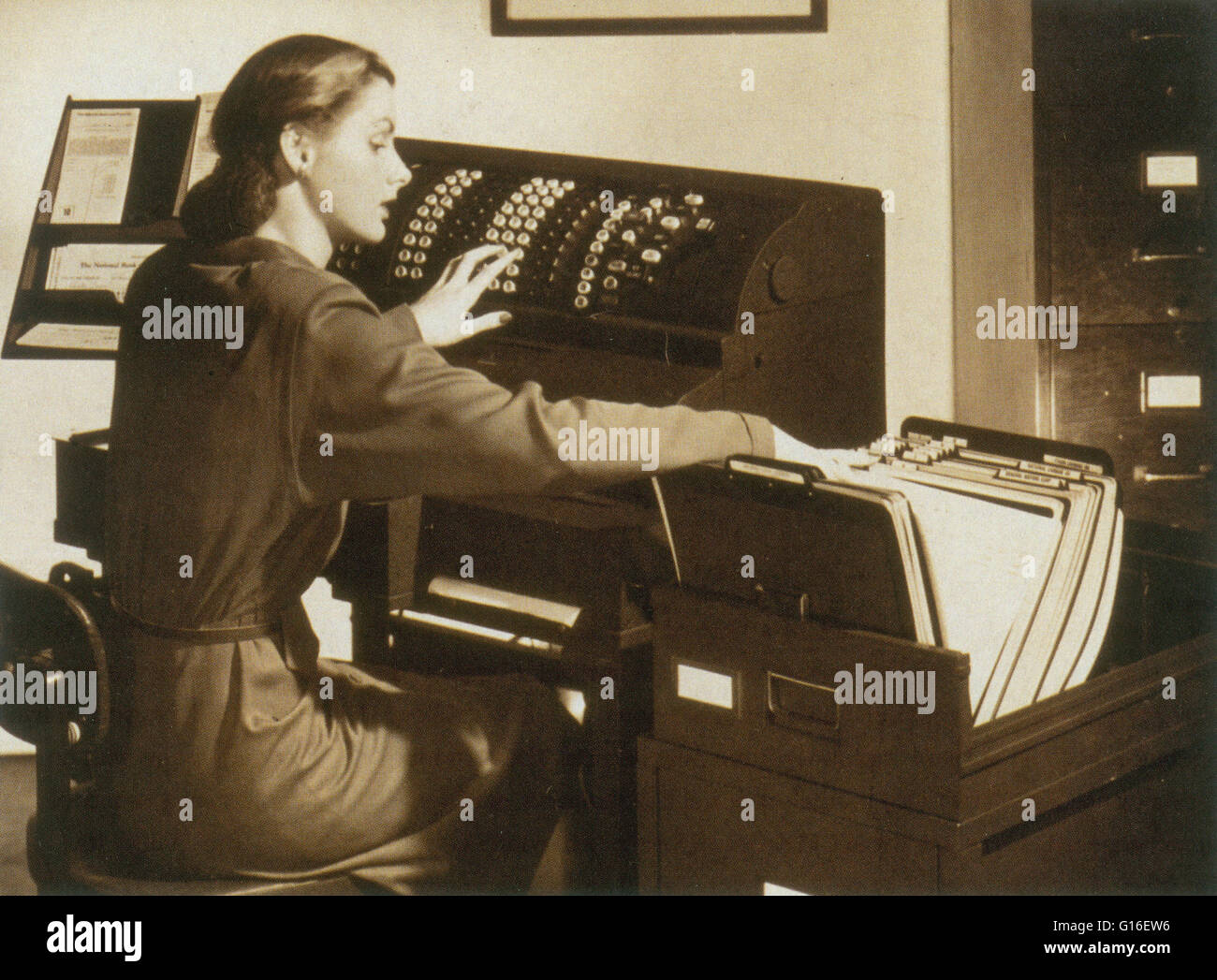 From the early 1900s through the 1960s, mechanical calculators dominated the desktop computing market. These devices - Stock Image