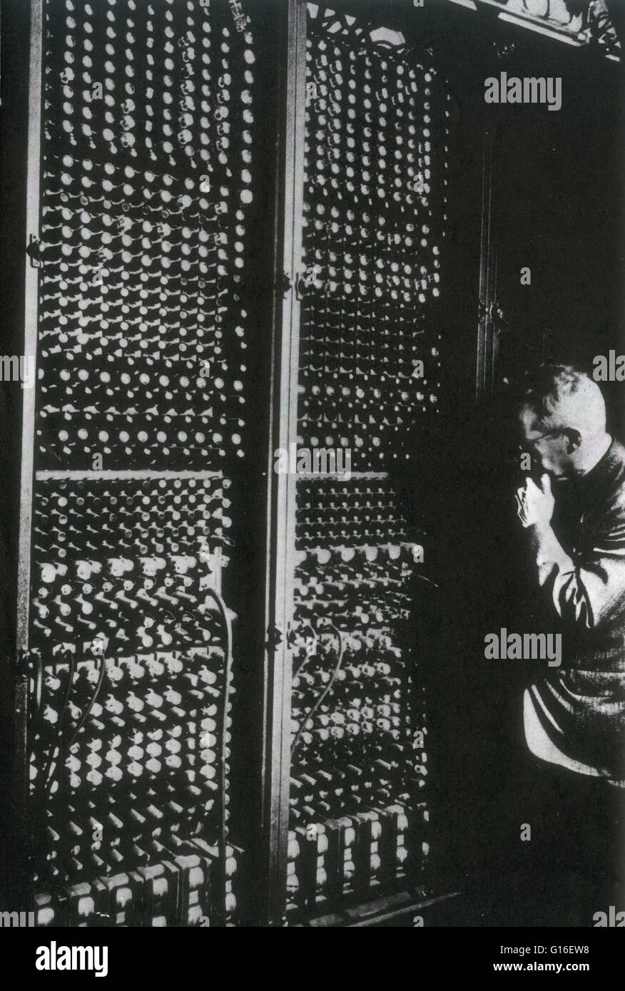 ENIAC (Electronic Numerical Integrator And Computer) was the first electronic general-purpose computer. It was Turing - Stock Image
