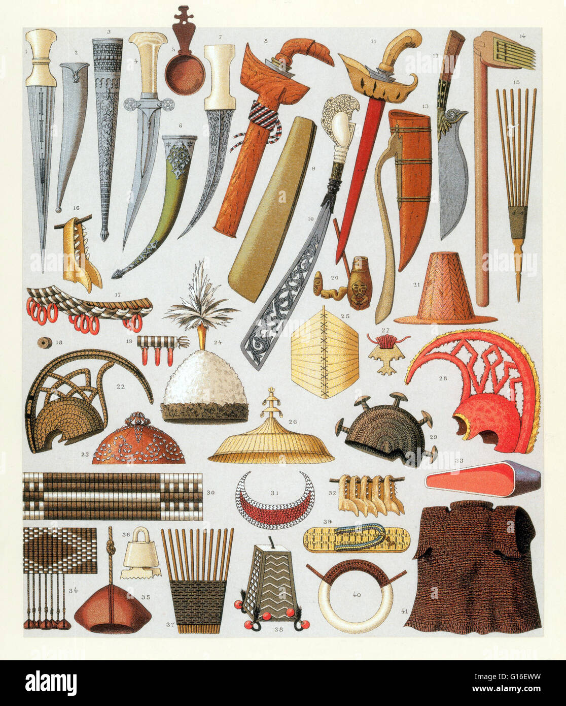 Apparel and arms, Oceania Islanders weapons. Although the military history of Oceania probably goes back thousands - Stock Image