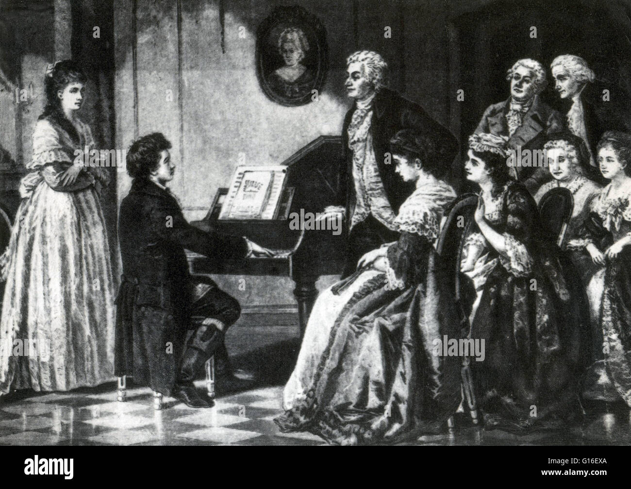 17 year old Beethoven playing for Mozart. Ludwig van Beethoven (baptized December 17, 1770 - March 26, 1827) was - Stock Image