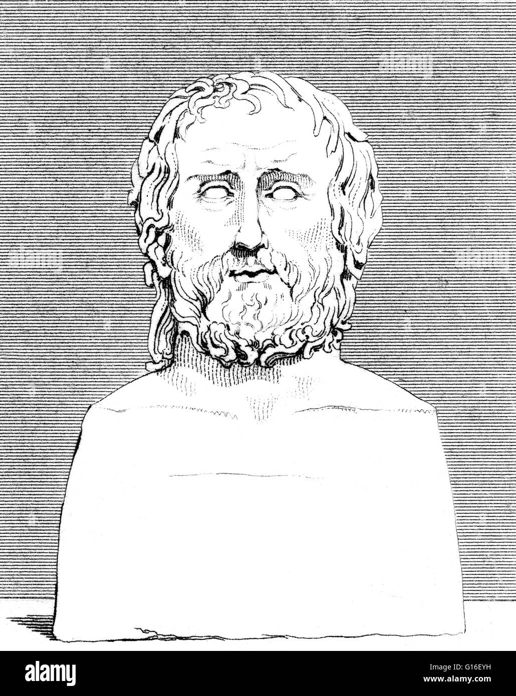 Euripides (480 - 406 BC) was a tragedian of classical Athens. He is one of the three whose plays have survived, - Stock Image