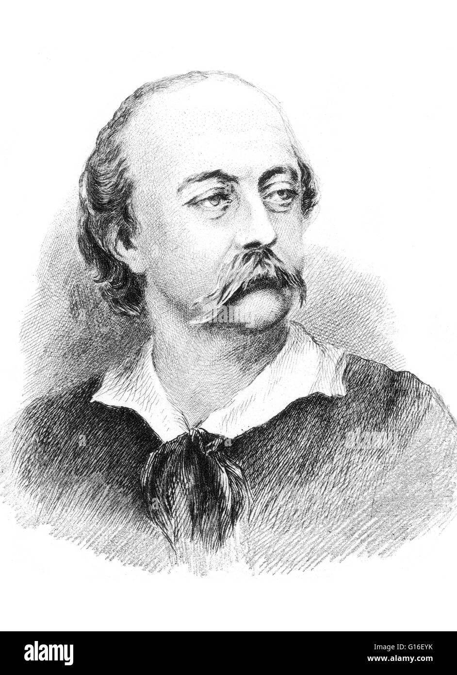 Gustave Flaubert (December 12, 1821 - May 8, 1880) was an influential French writer who was perhaps the leading - Stock Image