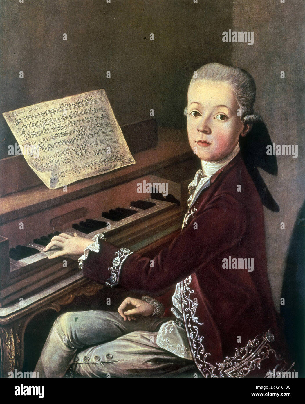 'Mozart at the Spinet' attributed to Thaddeus Helbing, 1766-67. Wolfgang Amadeus Mozart (January 27, 1756 - Stock Image