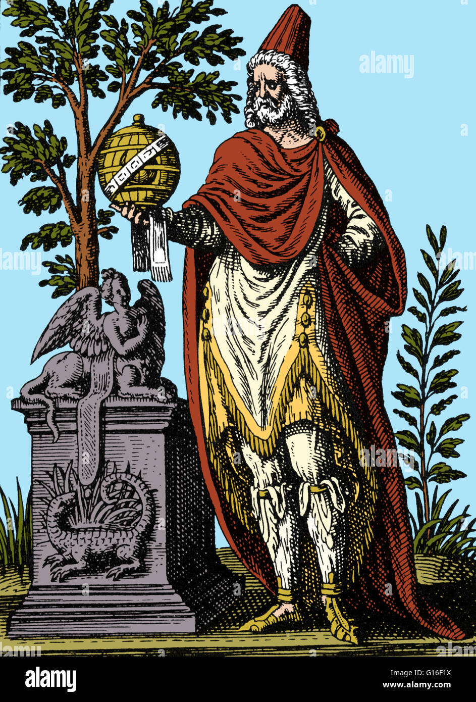Apollonius of Tyana (15 - 100 AD) was a Greek Neopythagorean (school of Hellenistic philosophy which revived Pythagorean - Stock Image