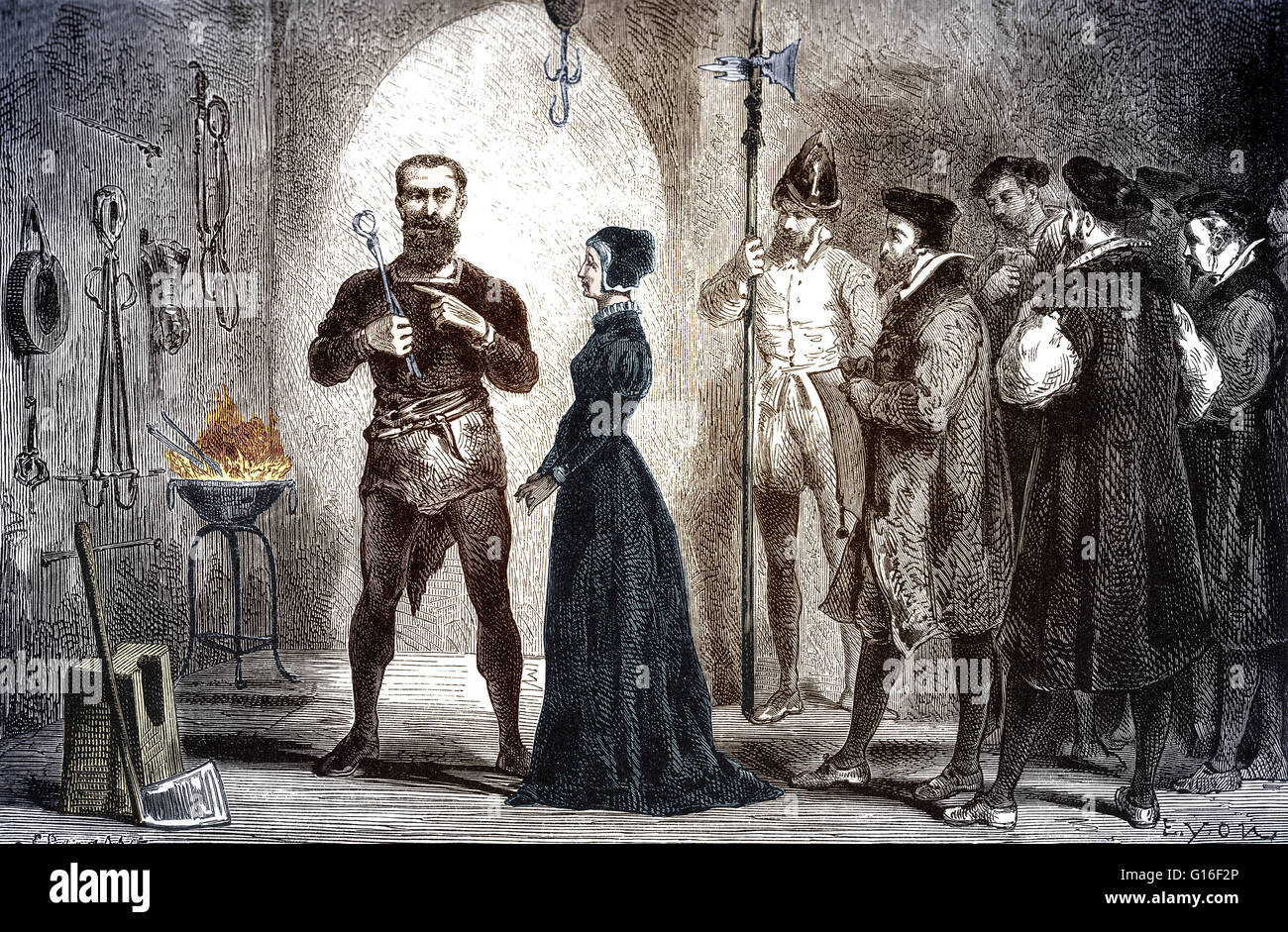 The executioner of Stuttgart shows the mother of Kepler the instruments of torture he will use on her if she does - Stock Image