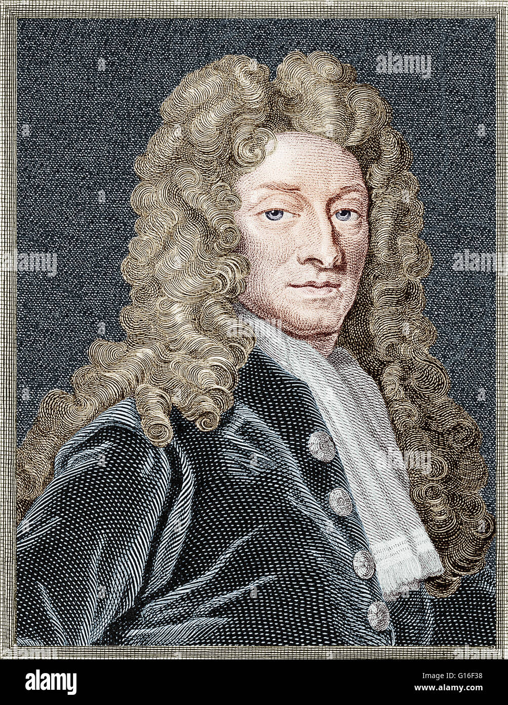 Line engraving of Sir Christopher Wren by T. Holloway, 1798, after Godfrey Kneller, 1711. Sir Christopher Wren (1632 - Stock Image