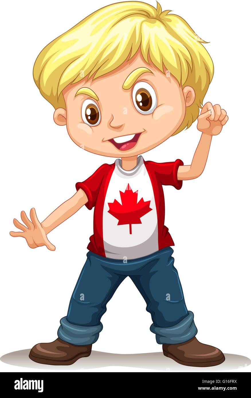 Canadian boy standing alone illustration stock vector