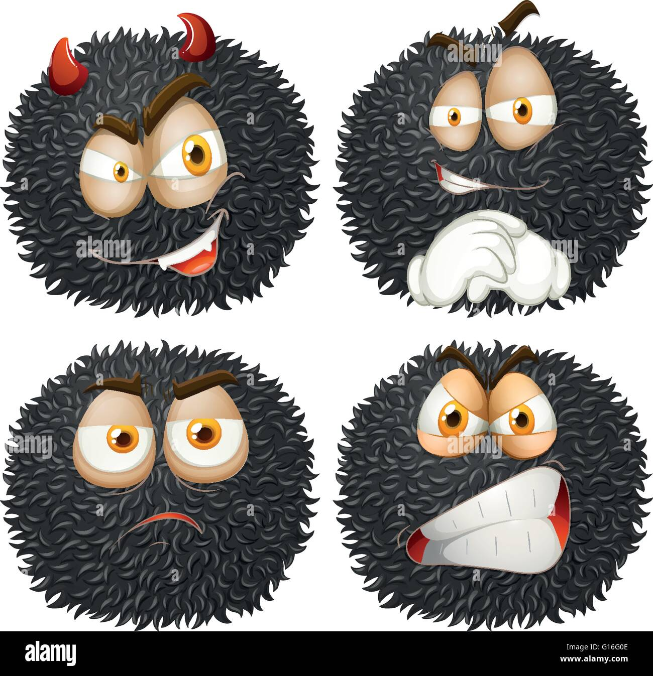 Facial expression on fluffy ball illustration - Stock Image