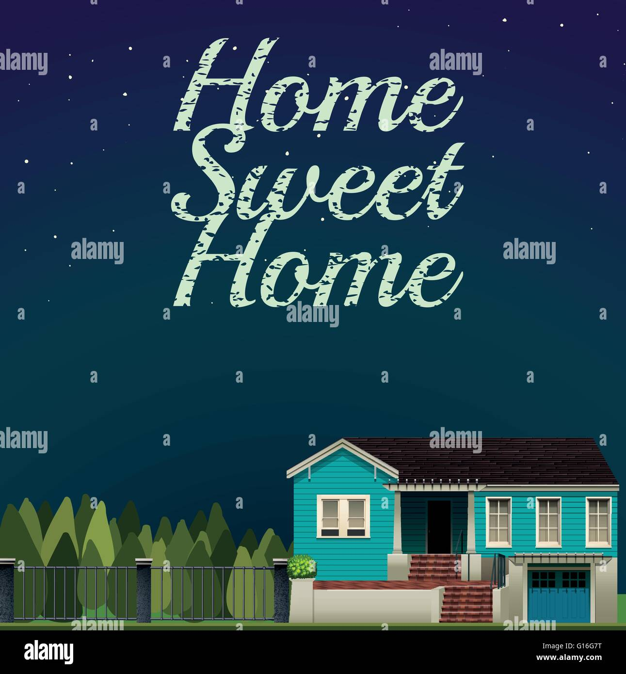 Home sweet home at night time illustration - Stock Vector