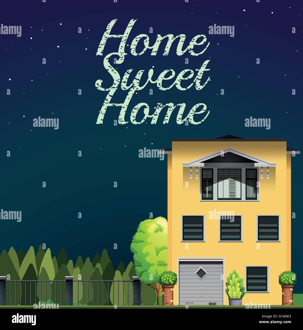 Home sweet home at night illustration - Stock Vector