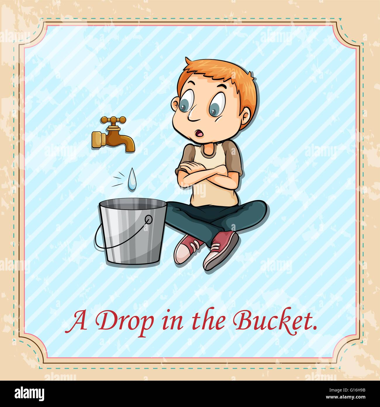 English idiom says a drop in the bucket - Stock Image