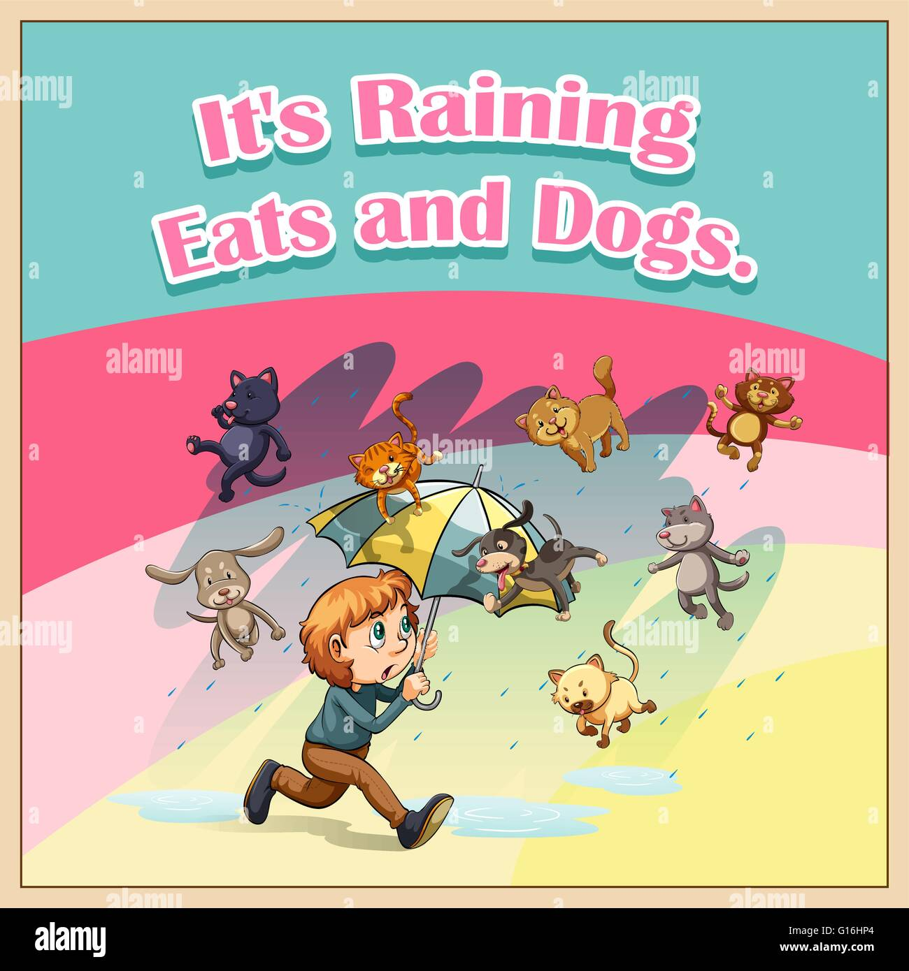 Idiom Saying It S Raining Cats And Dogs Stock Vector Image Art Alamy