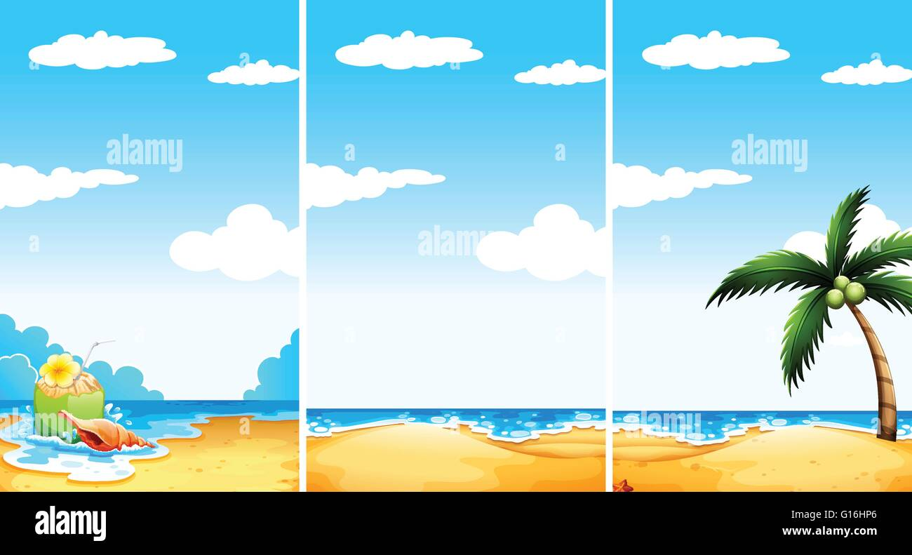 Beach scene in three different viewpoint illustration - Stock Vector
