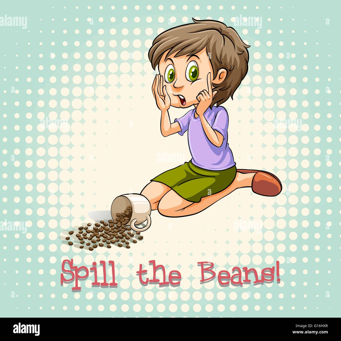 Woman sitting beside scattered beans illustration - Stock Vector