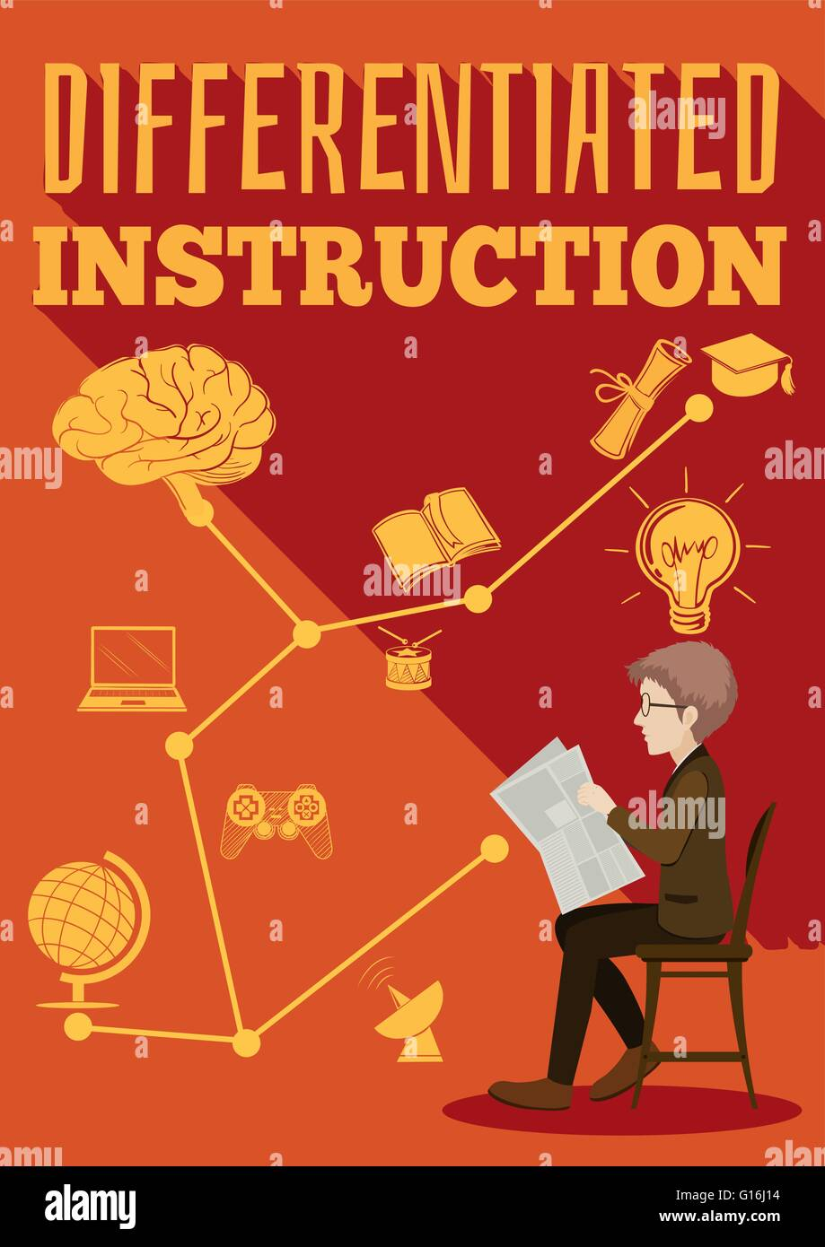 Differentiated Instruction Sign Man Illustration Stock Photos