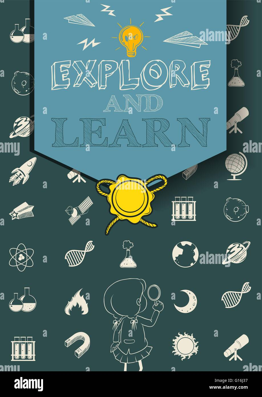 Educational poster with science symbols illustration - Stock Image