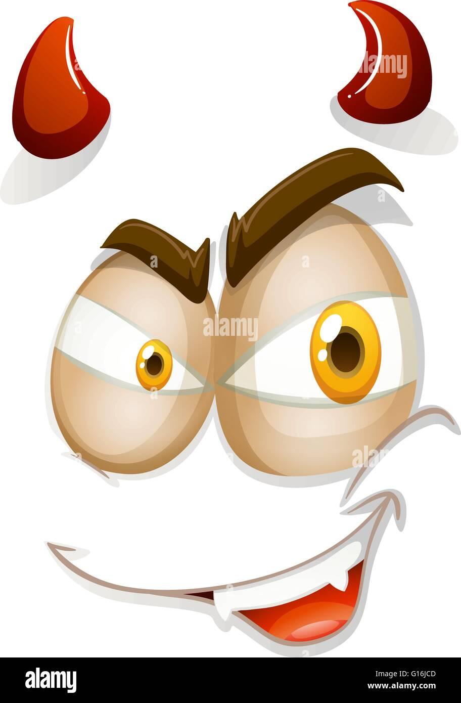 Devil face on white illustration - Stock Image