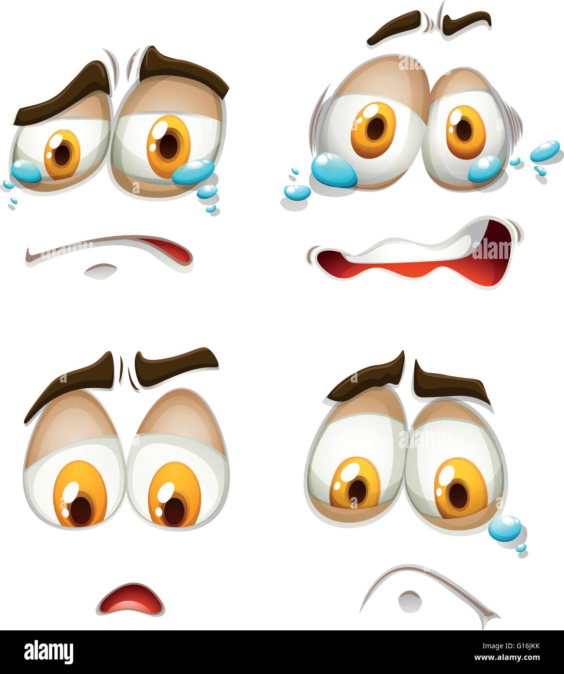 Facial expression on white illustration - Stock Vector