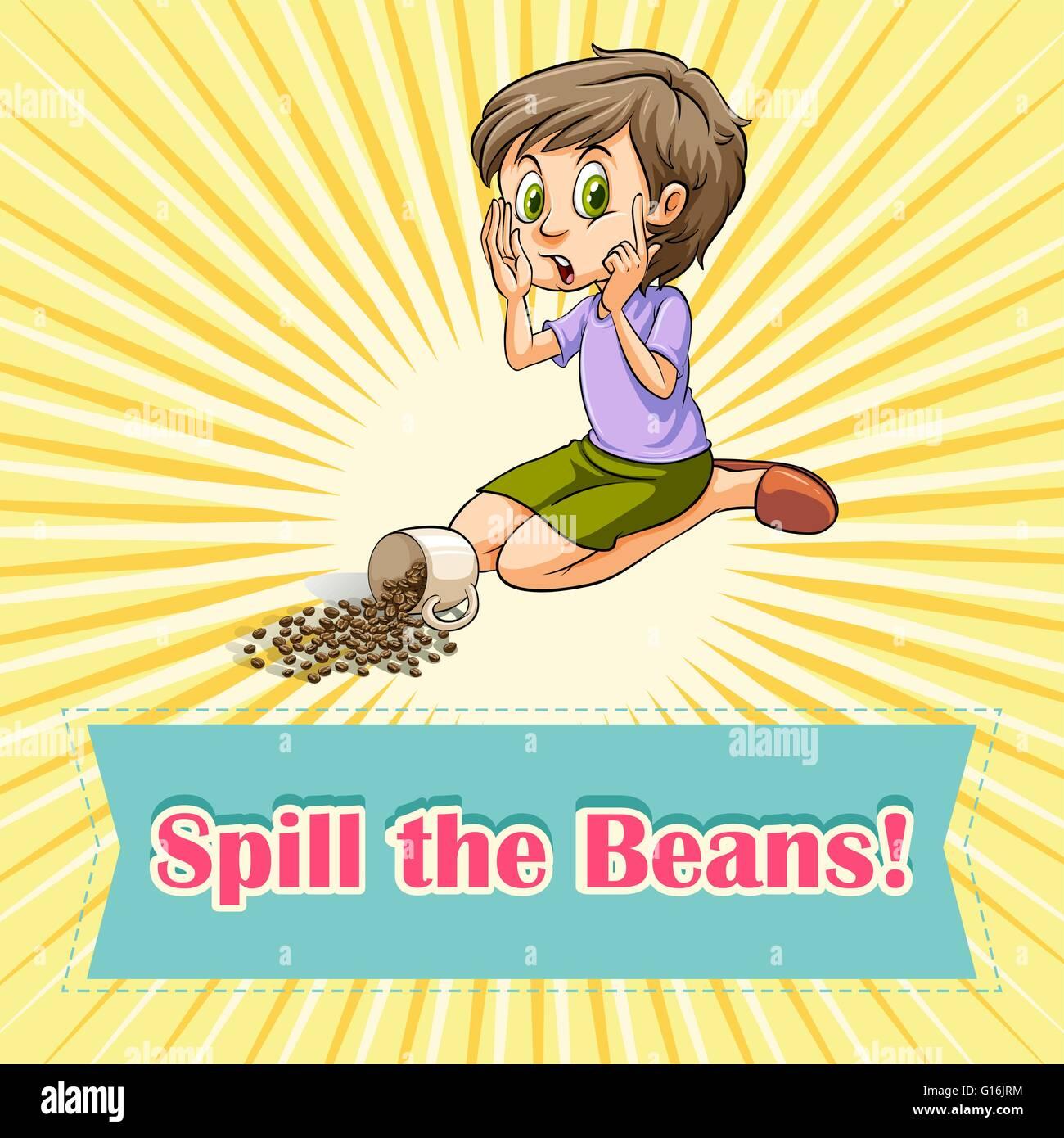 Woman sitting beside spilt beans illustration - Stock Vector