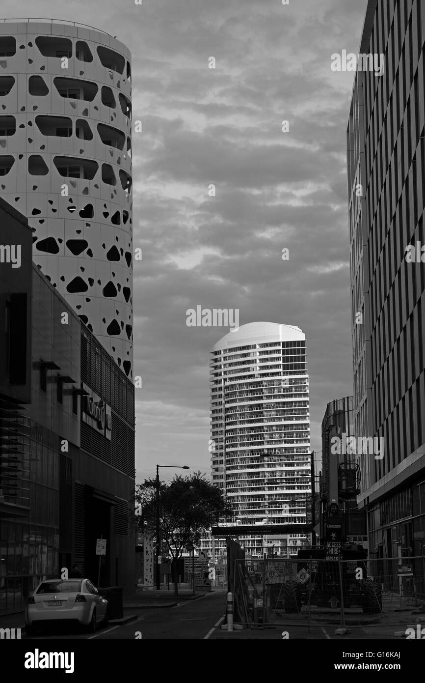 Black and white capture of modern architecture buildings int the Docklands Melbourne Australia - Stock Image